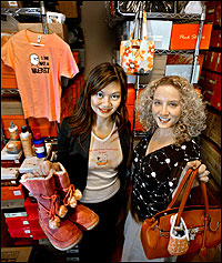 Henny Hendra and Jackie Horrick are co-partners of AlternativeOutfitters.Com based in Pasadena, a retailer that sells only animal-free accessories, clothing and cosmetics. The business that operates out of their home, the start-up company has doubled its sales every month. Its Web site receives more than 900 hits daily. (Photo by Walt Mancini)